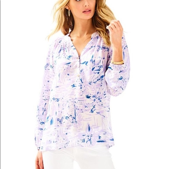 """2337bf0a9cd639 Lilly Pulitzer Tops - Lilly Pulitzer Elsa Silk Blouse in """"Rock the Dock"""""""